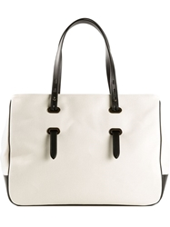 Tomas Maier Canvas Leather Tote Nude And Neutrals