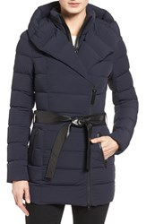 Mackage Women's Leather Trim Hooded Down Parka Navy