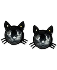 Betsey Johnson Black Cat Stud Earrings