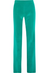 Gucci Silk Twill Flared Pants Turquoise