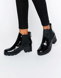 Aldo Ulda Chunky Chelsea Boots Black Pat Leather