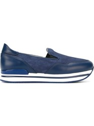 Hogan Contrast Panel Slip On Sneakers Blue