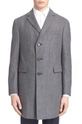 Z Zegna Trim Fit Wool Top Coat Gray