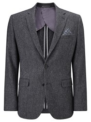 John Lewis Herringbone Wool Tailored Blazer Grey