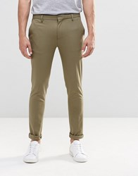 Asos Super Skinny Trousers In Khaki Burnt Olive Green