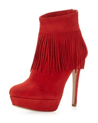 Charles David Lula Fringe Trim Suede Bootie Red