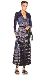 Raquel Allegra Victorian Neck Dress In Blue Purple Ombre And Tie Dye Blue Purple Ombre And Tie Dye