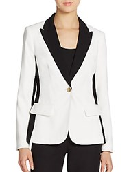 Ivanka Trump Color Blocked Crepe Blazer Ivory Black
