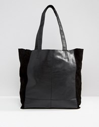 Warehouse Leather Unlined Shopper Black