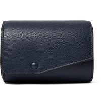 Valextra Pebble Grain Leather Watch Roll Storm Blue