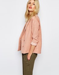 Sessun Aso Textured Blazer In Tan Rose Pink
