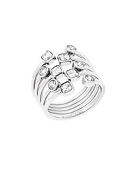 Michael Kors Modern Brilliance Cubic Zirconia And Stainless Steel Layered Ring Silver