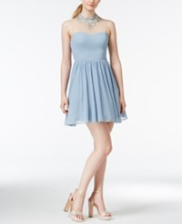 City Triangles City Studios Juniors' Illusion Jeweled Fit And Flare Party Dress