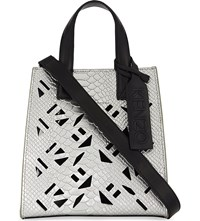 Kenzo Cut Out Leather Tote Silver
