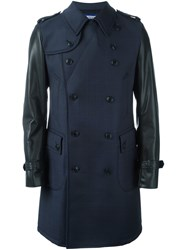 Junya Watanabe Comme Des Garcons Man Double Breasted Contrast Sleeves Coat Blue