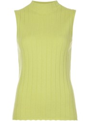 Lafayette 148 New York Sleeveless Mock Neck Top Green