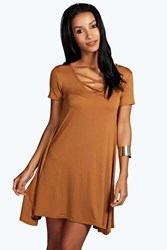 Boohoo Laced Front Skater Dress Tan