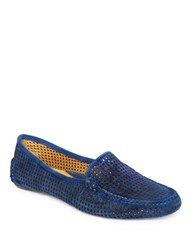 Patricia Green Barrie Perforated Suede Loafers Navy Blue
