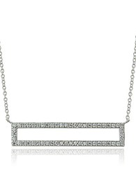Lord And Taylor Cubic Zirconia Open Bar Pendant Necklace Silver