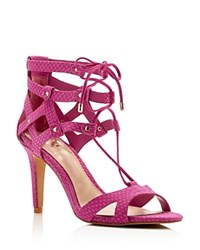 Vince Camuto Claran Snake Embossed Lace Up High Heel Sandals Pink Orchid