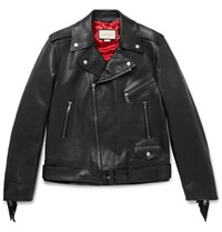 Gucci Patch Embellished Fringed Leather Biker Jacket Black