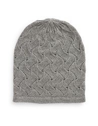Lord And Taylor Pointelle Cashmere Hat Grey