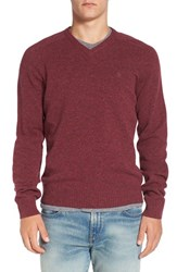 Original Penguin Men's V Neck Lambswool Sweater Amaranth