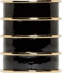 Balmain Black Leather Gold Stacked Cuff