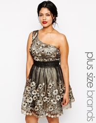 Chi Chi Plus 3D Floral Lace One Shoulder Prom Dress Goldblack