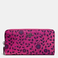 Coach Accordion Zip Wallet In Willow Floral Print Canvas Dark Gunmetal Cerise Multi