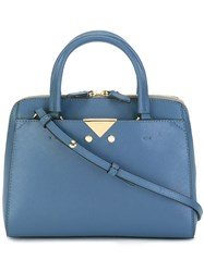 Emporio Armani Double Handles Zipped Tote Blue