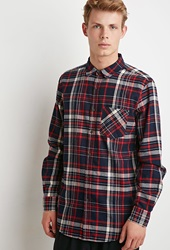 Forever 21 Tartan Plaid Flannel Shirt Navy Red