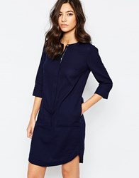 Warehouse Concealed Zip Tunic Dress Navy