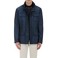 Moorer Men's Tech Fabric Down Manolo Field Coat Blue