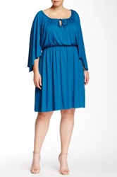 White Label By Rachel Pally Kaftan Sleeve Keyhole Dress Plus Size Blue