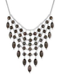 Lucky Brand Silver Tone Mother Of Pearl Look Statement Necklace