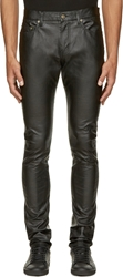 Saint Laurent Black Grained Leather Slim Jeans