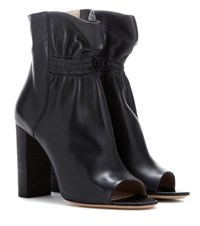 Chloe Leather Peep Toe Ankle Boots Black