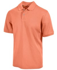 Club Room Short Sleeve Solid Estate Performance Sun Protection Polo Melon Burst