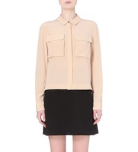 Whistles Cropped Silk Shirt Nude