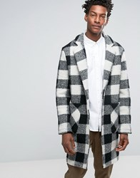Asos Wool Mix Overcoat In Black And White Check Black