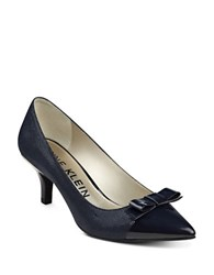 Anne Klein Flouncy Textured Pumps Navy Blue