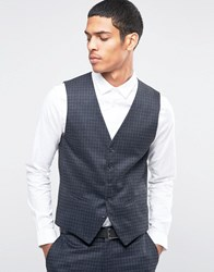 Selected Homme Suit Waistcoat With Brushed Tonal Check In Skinny Fit Charcoal Grey