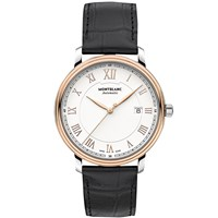 Montblanc 114336 Men's Tradition Automatic Date Alligator Leather Strap Watch Black White