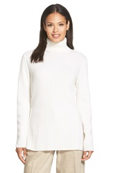 Lafayette 148 New York Ribbed Cashmere Turtleneck Sweater Cloud