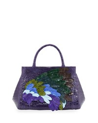 Nancy Gonzalez Daisy Medium Feather Crocodile Satchel Bag Purple Multi