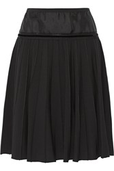 Marc Jacobs Silk Trimmed Pleated Stretch Wool Skirt Black
