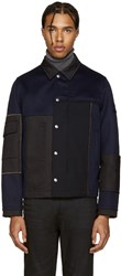 Valentino Navy And Black Wool Jacket