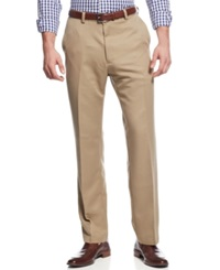 Haggar Classic Fit Microfiber Performance Flat Front Dress Pants British Khaki