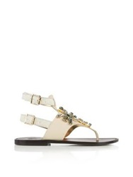 Sanchita Embellished Thong Sandals Off White